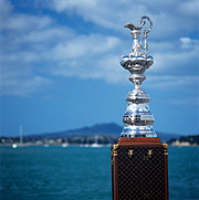 The America's Cup with Rangitoto Island in the background